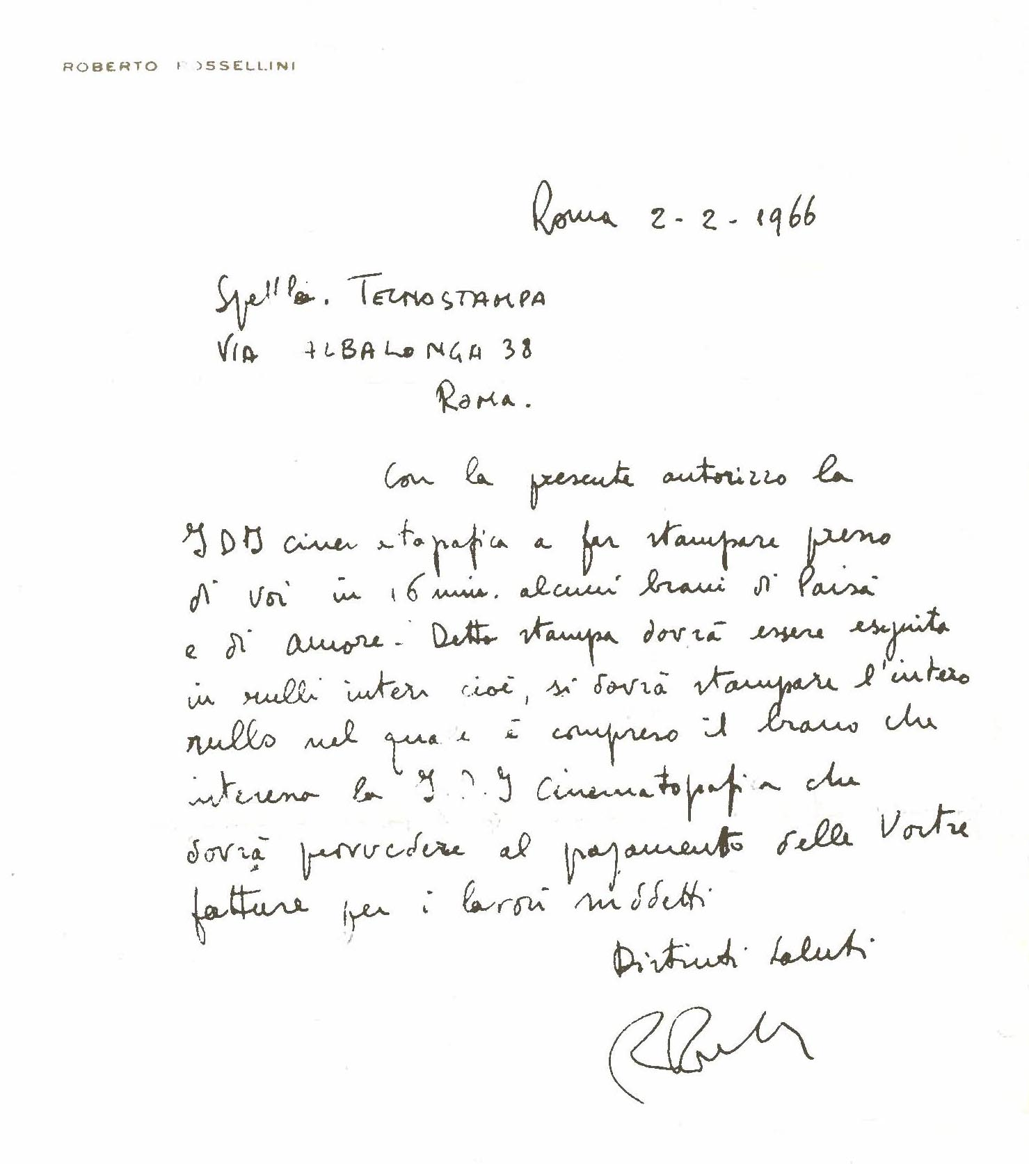 from our archives a handwritten letter from roberto rossellini