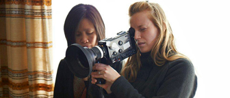 "Director Sarah Polley and Cinematographer Iris Ng at work on ""Stories We Tell"" (2012)"