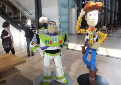 Buzz and Woody in the Pixar lobby…