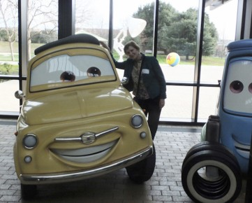 Friendly car & Marcy getting acquainted in Pixar lobby (Photo: Torill Kove)