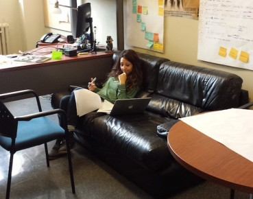 Maral, at work in her work-den