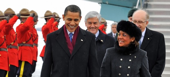 GG2009-0047-001  February 19, 2009, Canadian Reception Center, Ottawa, Ontario, CanadaTheir Excellencies, the Right Honourable Micha'lle Jean, Governor General of Canada and Jean-Daniel Lafond are welcoming the President of the United States of America, The Honourable Barack H. Obama at the Canadian Reception Center of the Ottawa Airport, in Ottawa on February 19, 2009.Credit: Sgt Serge Gouin, Rideau Hall, OSGG