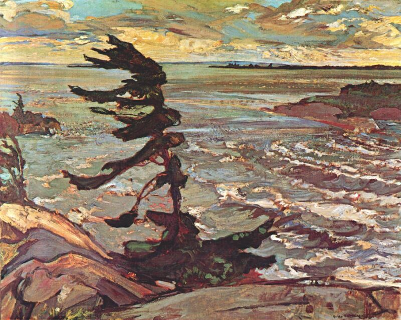 "Group of Seven F.H. Varley painting ""Stormy Weather, Georgian Bay, 1921"""